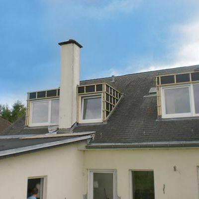 U ziet hier de start van de dakkapel opbouw.